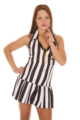 Woman referee signs thinking