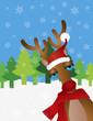 Reindeer with Santa Hat Snow Scene Vector Illustration