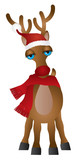 Santa Reindeer with Santa Hat Scarf Vector Illustration