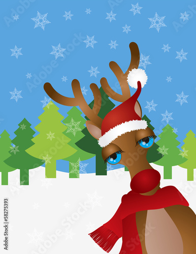 Reindeer with Santa Hat Snow Scene Vector Illustration