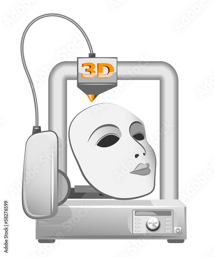 3d printer and white mask. Vector illustration