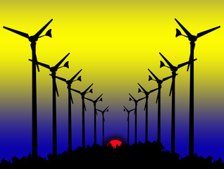 Silhouette Wind turbines on Sunset.