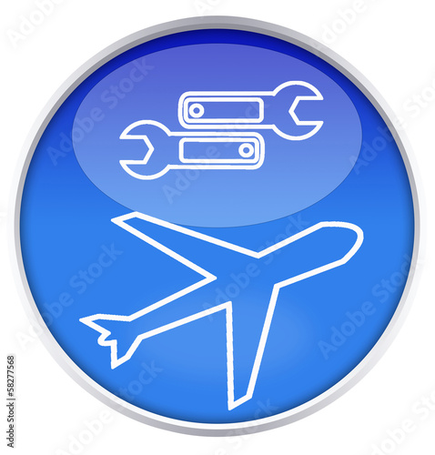 icon repair plane on blue background