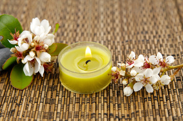 bunch of spring flower, candle on mat