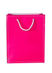 Pink paper bag on white isolate background