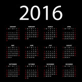 Calendar for 2016 on black background. Vector EPS10.