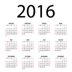 Calendar for 2016 on white background. Vector EPS10.