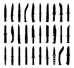 Knife silhouettes set. Isolated on white. Vector EPS10.