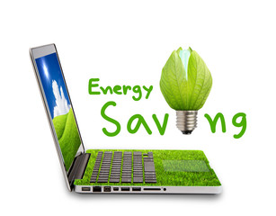 Green Laptop isolated on white concept of saving energy