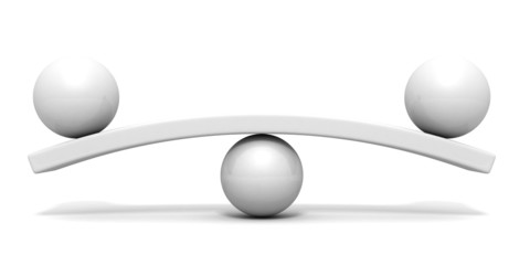 Two white spheres scale balance concept