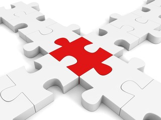 red inddividual jigsaw puzzle in center white cross group