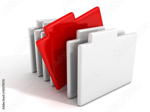 concept office document paper folders with red one
