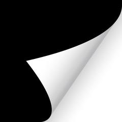 Papier - Ecke unten weiß auf schwarz