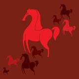 few red horses on a red background