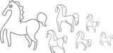 horses outline on a white background