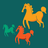 three colorful horses on a green background
