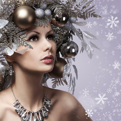 Christmas Woman with New Year Decorated Hairstyle. Snow Queen.