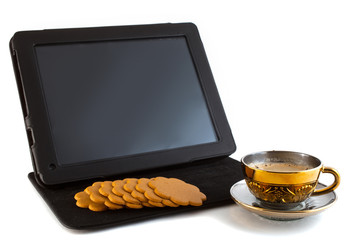 coffee, cookies and tablet
