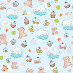 Seamless pattern with funny elephants, beers and sweets.
