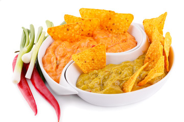 Nachos, guacamole and cheese sauce,  vegetables