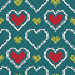 Seamless knitted sweater pattern with hearts