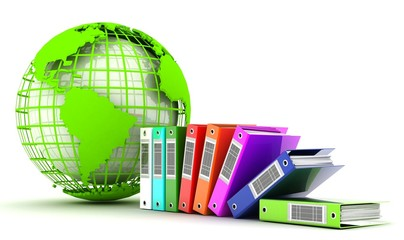 globe and document folders