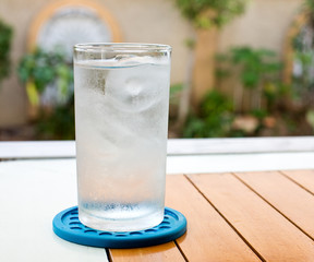 glass with ice water