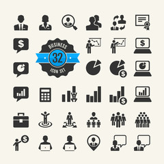 Office people icon set. Business, career, finance, profit
