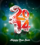 Vector Happy New Year 2014 colorful celebration background.