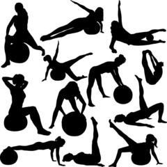 pilates women silhouettes - vector 1