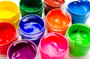 Gouache paint isolated on white