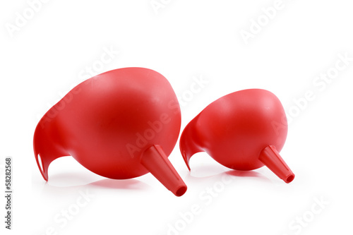 red Plastic Funnel on white background