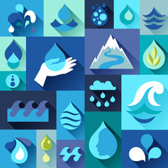 Background with water icons in flat design style.