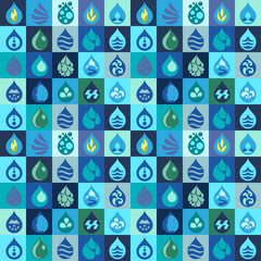 Seamless pattern with water icons in flat design style.