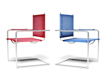 Disagreement office chairs, business concept