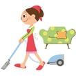 掃除機で掃除をしているお母さん