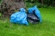 Rubbish sacks on grass