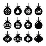 Fototapety Christmas ball, christmas bauble vector icons set