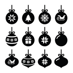 Christmas ball, christmas bauble vector icons set