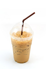 Iced coffee with straw in plastic cup isolated on white backgrou
