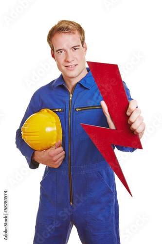 Electrician holding flash symbol