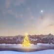 Leuchtender Christbaum im See