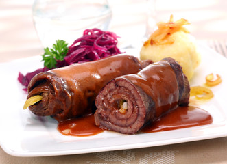 Rolled beef roulades