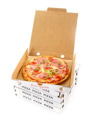 Takeaway salami or pepperoni pizza in a box