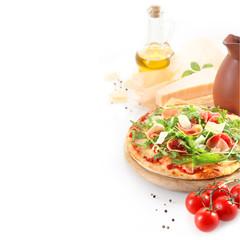 Fresh homemade prosciutto ham pizza