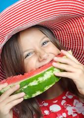cute girl eating water-melon