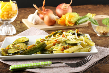 Pasta with zucchini flowers fresh