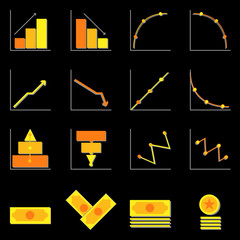 Graph and money color icons on black background