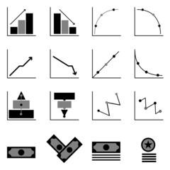 Graph and money icons on black background