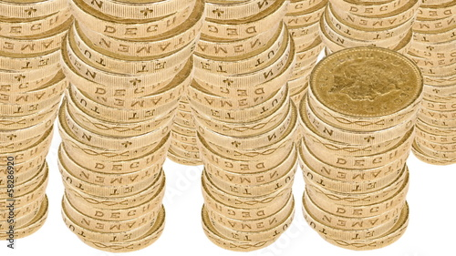 Stacks of British Coins with Alpha